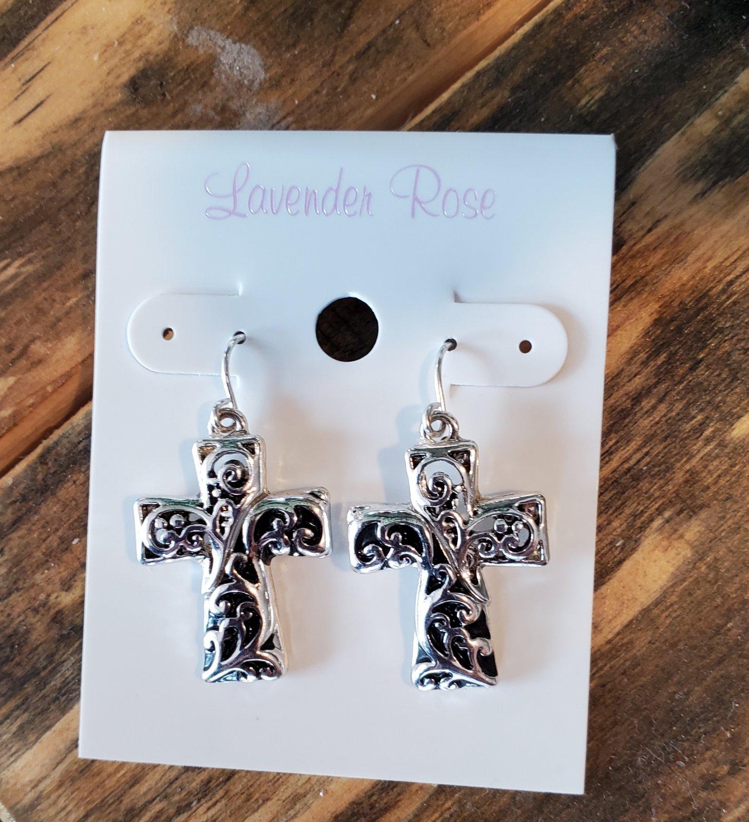 Silver and Black Cross Earrings
