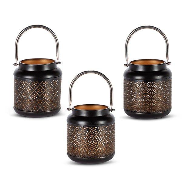 5.12H Metal Lantern, 3 Asst