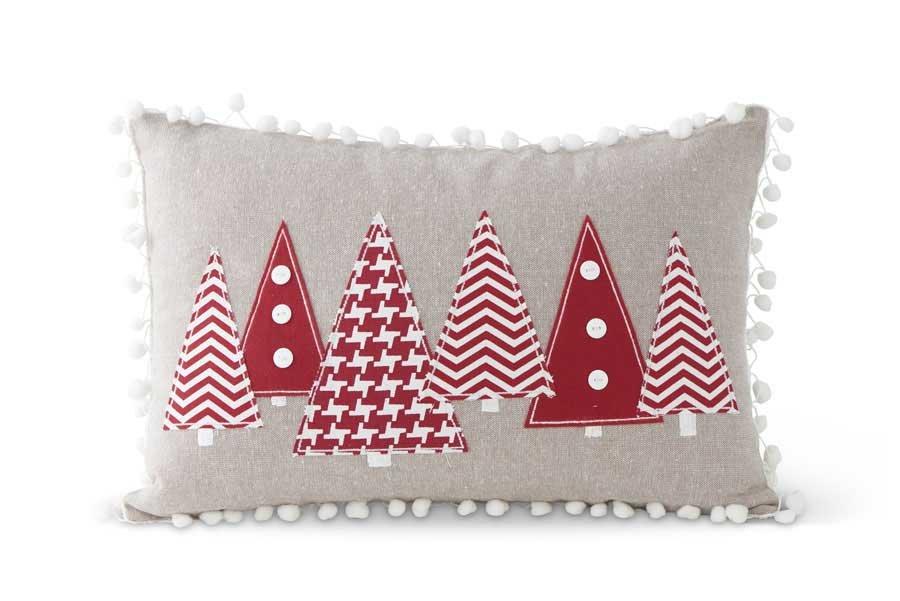 Christmas Tree & Pom Pom Pillow