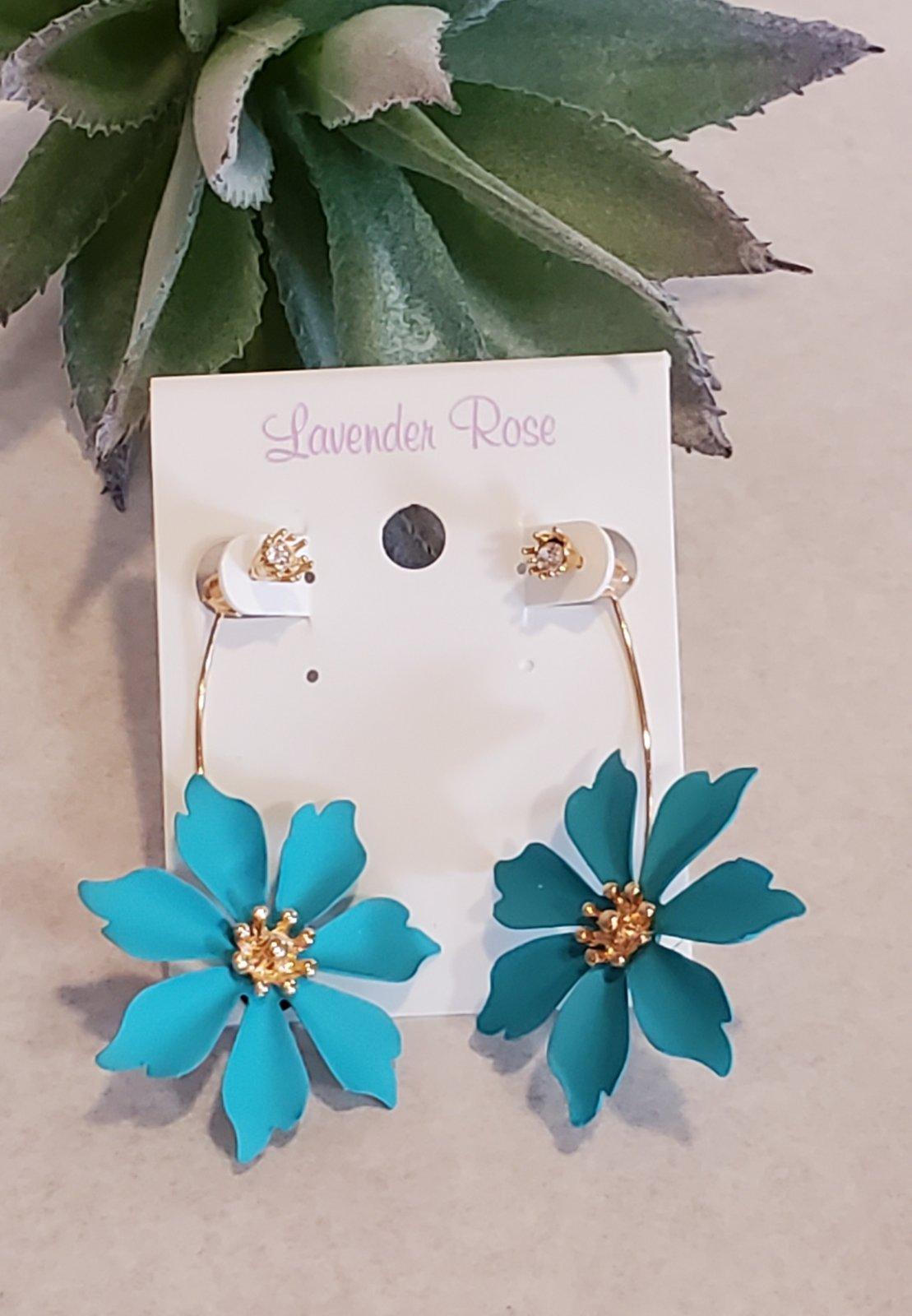 Teal Flower Drop Earrings