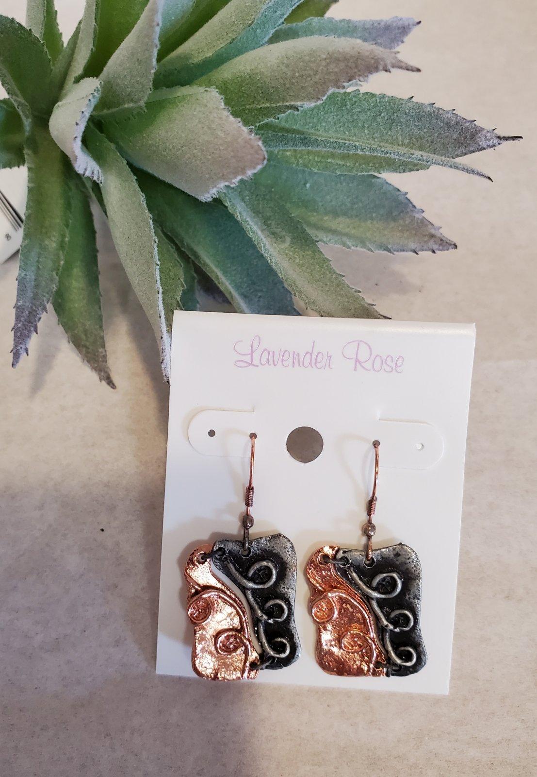 Copper and gunmetal Swirl drop Earrings