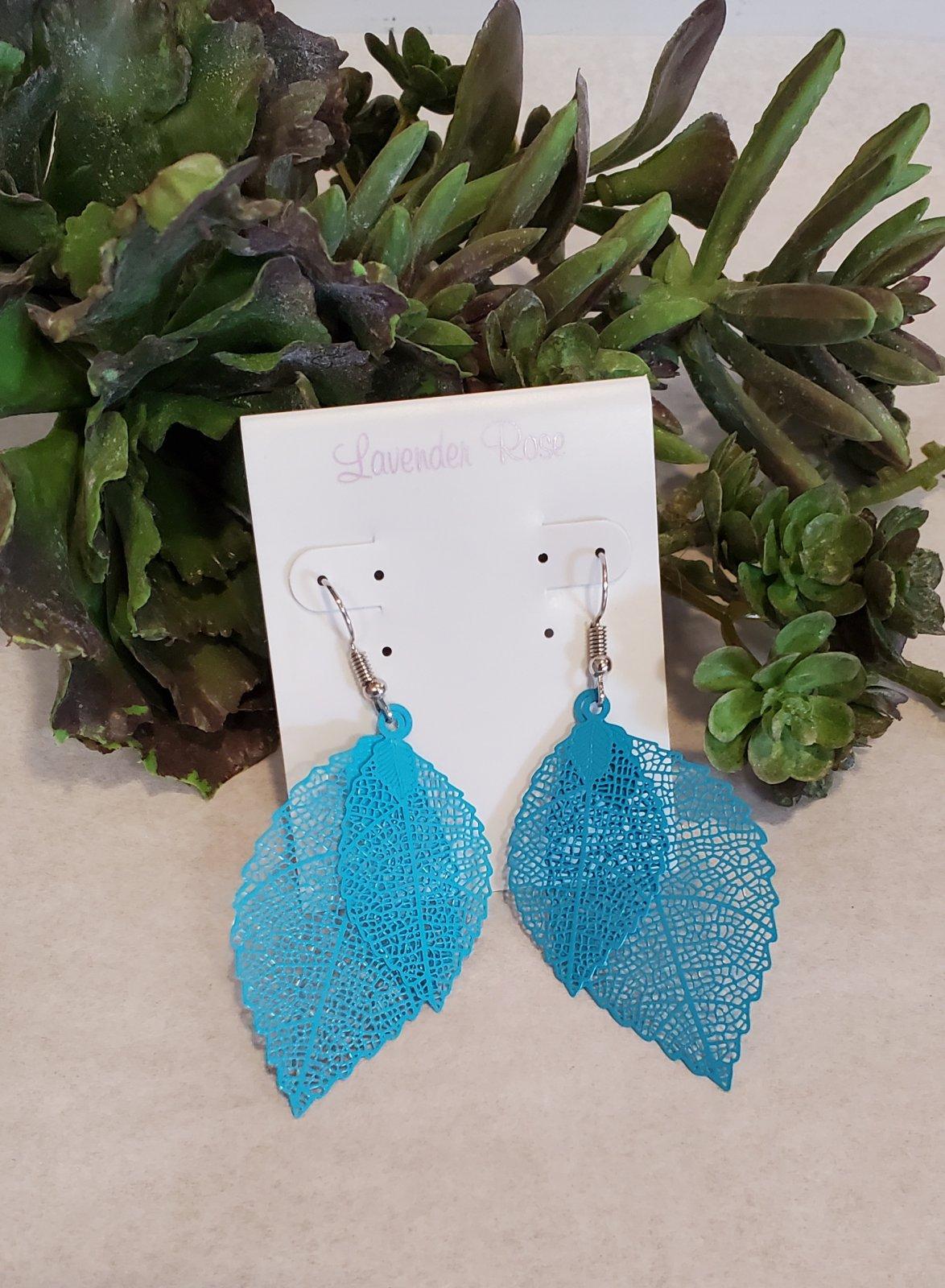 Teal Lace Leaf Earrings