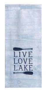 Live Love Lake EMB Tea Towel