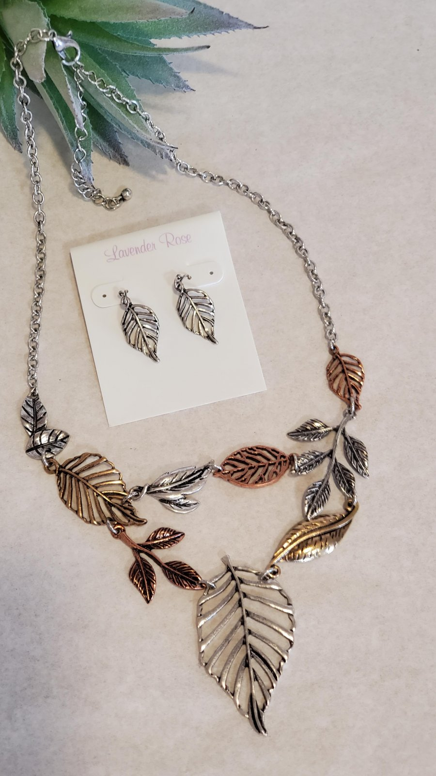 Leaf Necklace and Earring Set