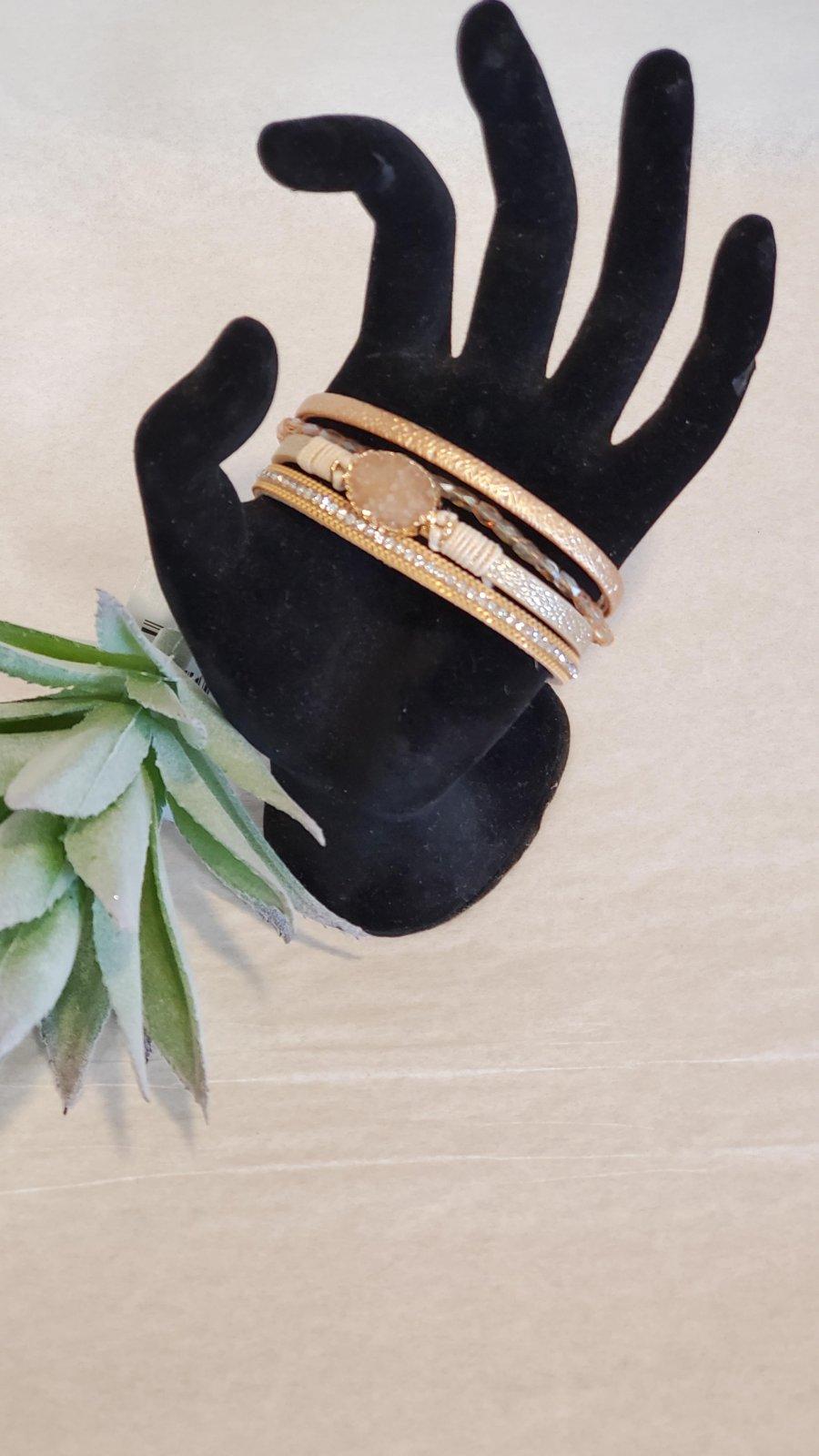 Leather Strand Bracelet With Crystal Stone Bracelet