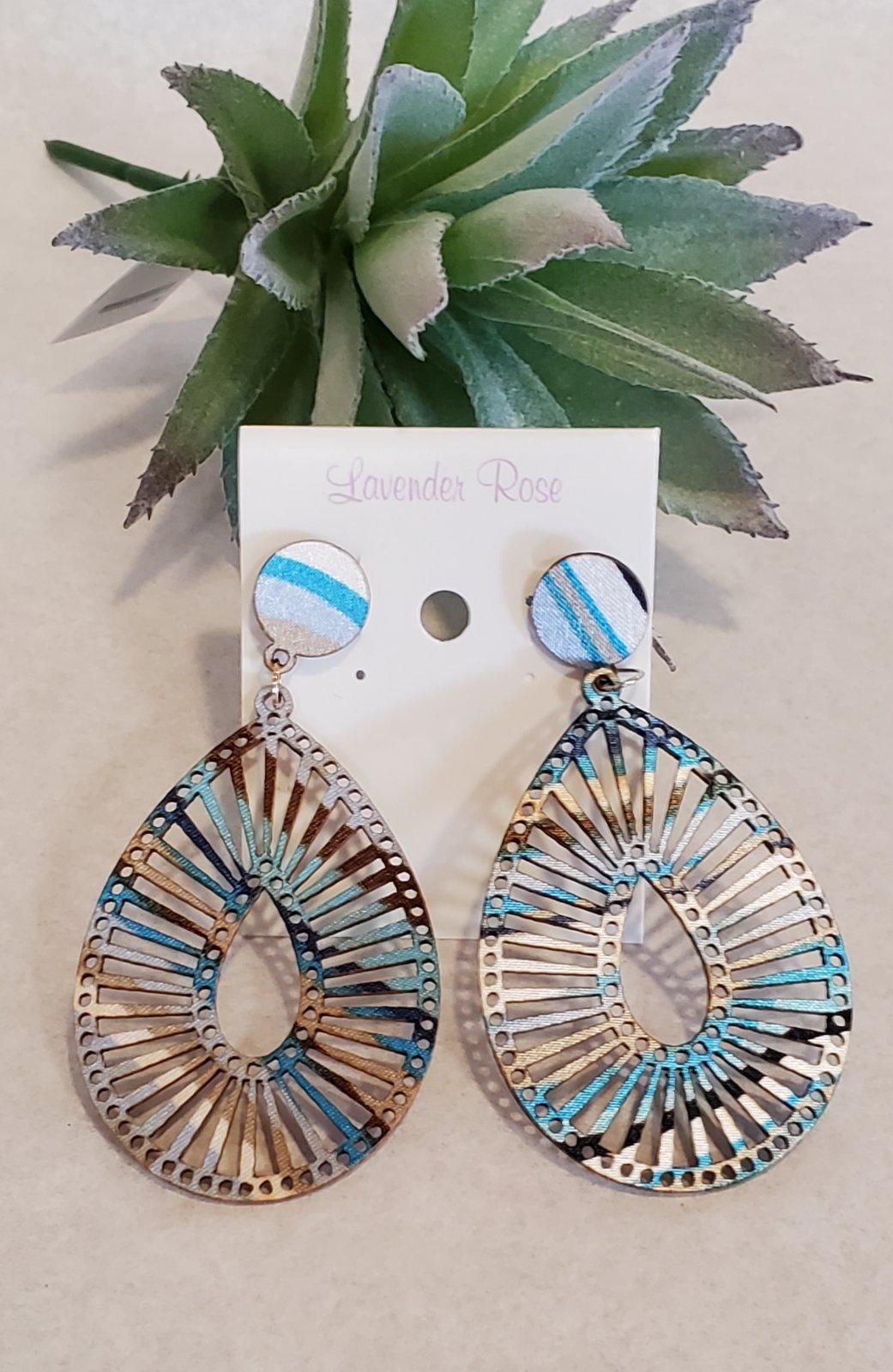 Blue Cut Wood Filigree Teardrop Earrings