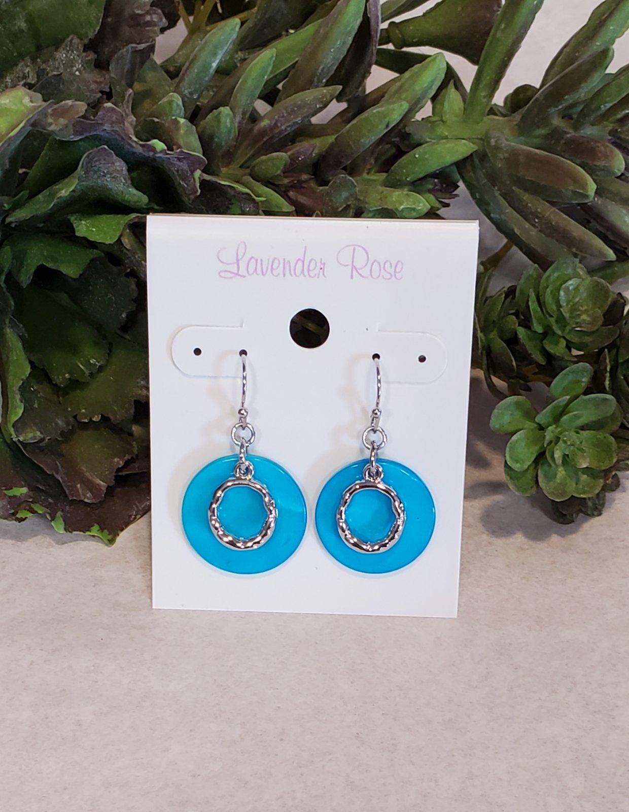 Cyan Blue Round Shell Earrings