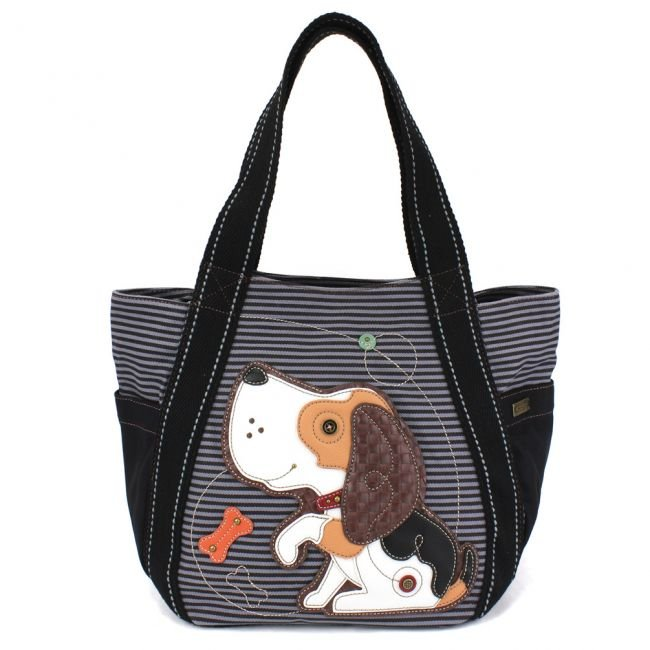CarryAll Tote - Blue Stripe Dog