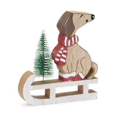 Dog with Santa Hat on sled