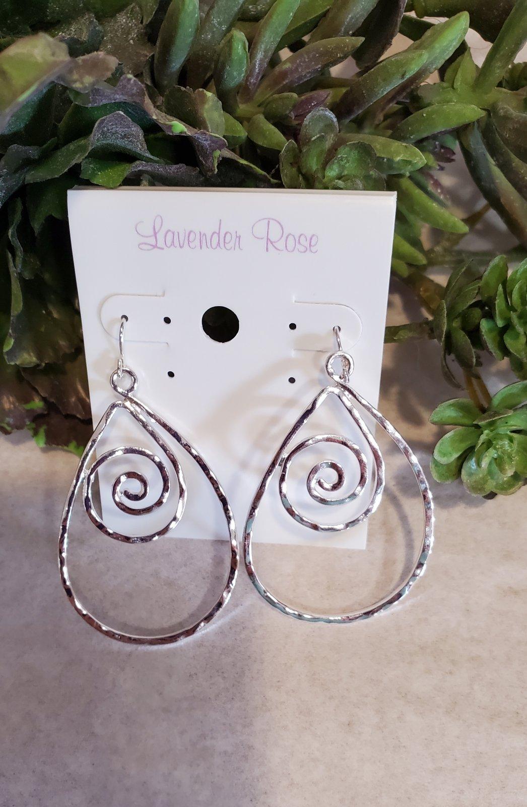 Silver Swirl Drop Earrings