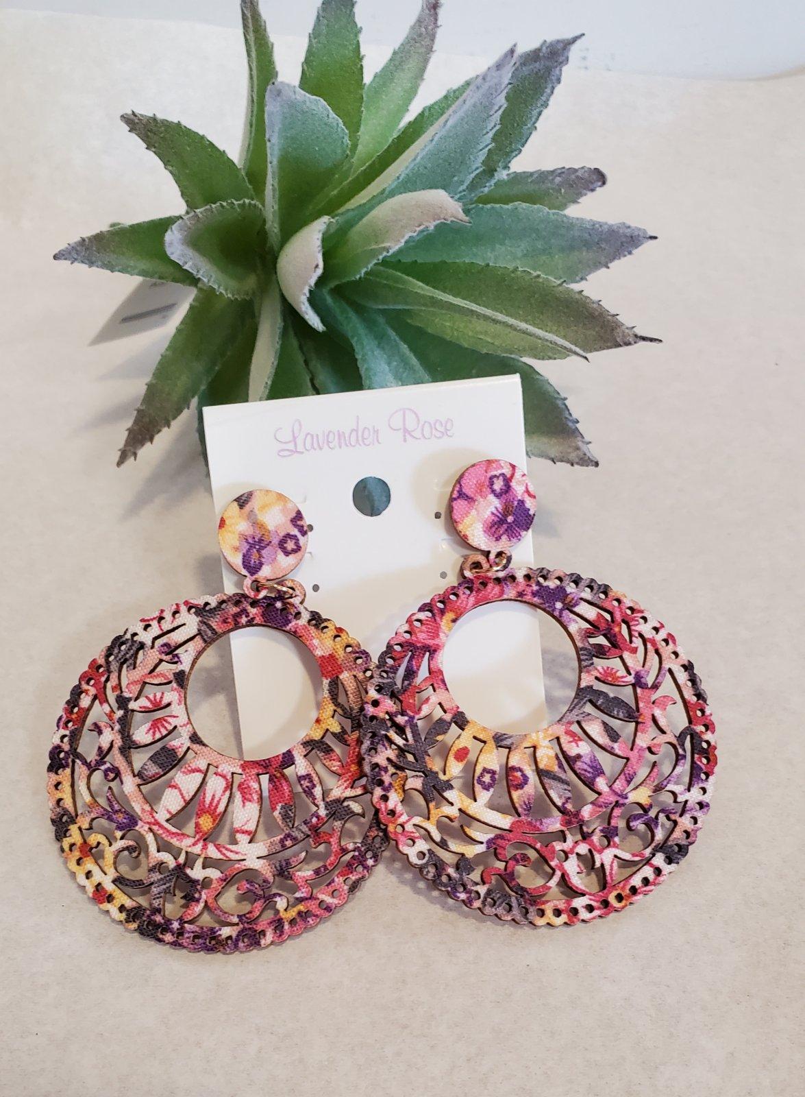 Pink Cut Wood  Filigree Circle Earrings