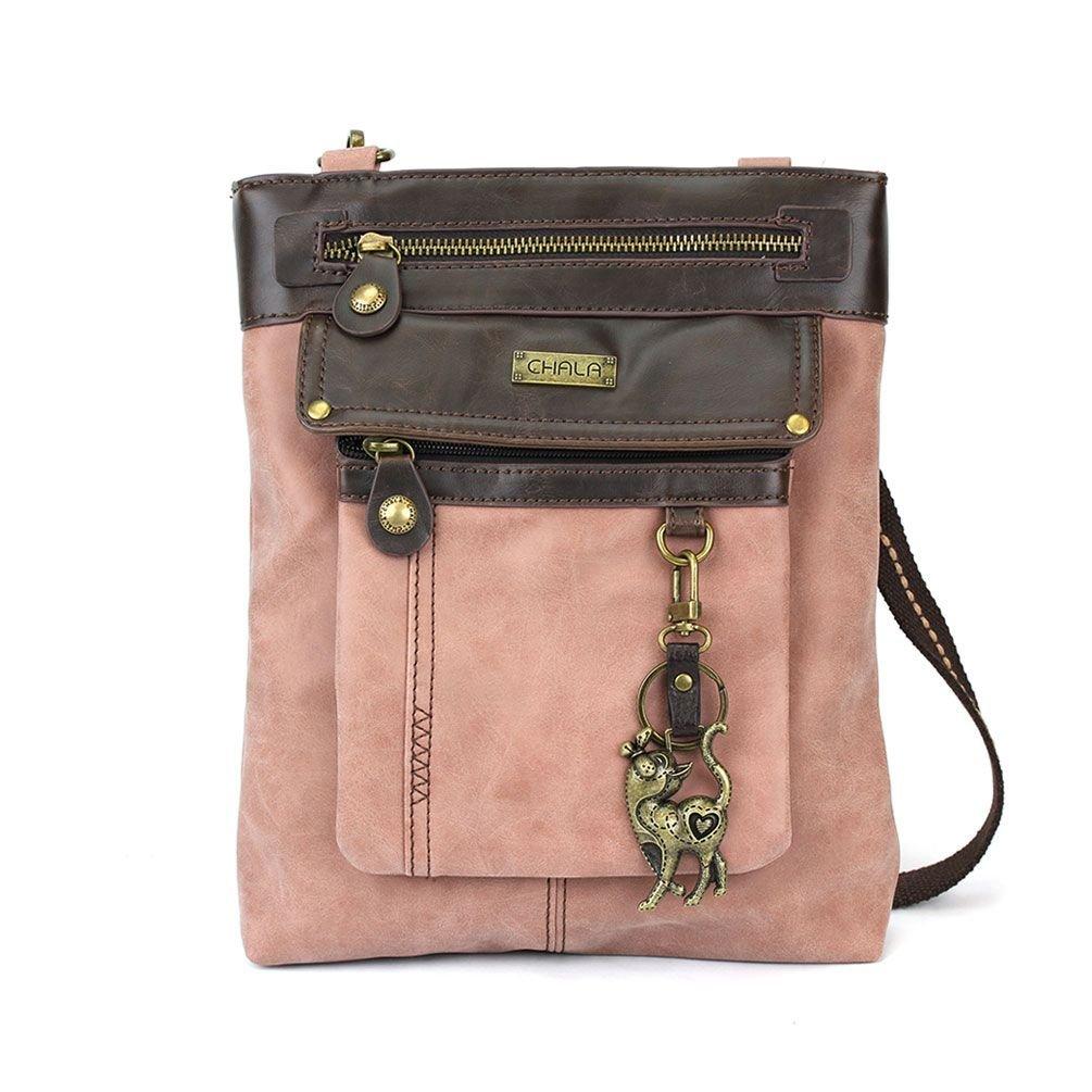 Slim Cat - Gemini Crossbody Bag (Faux Leather)- Rose