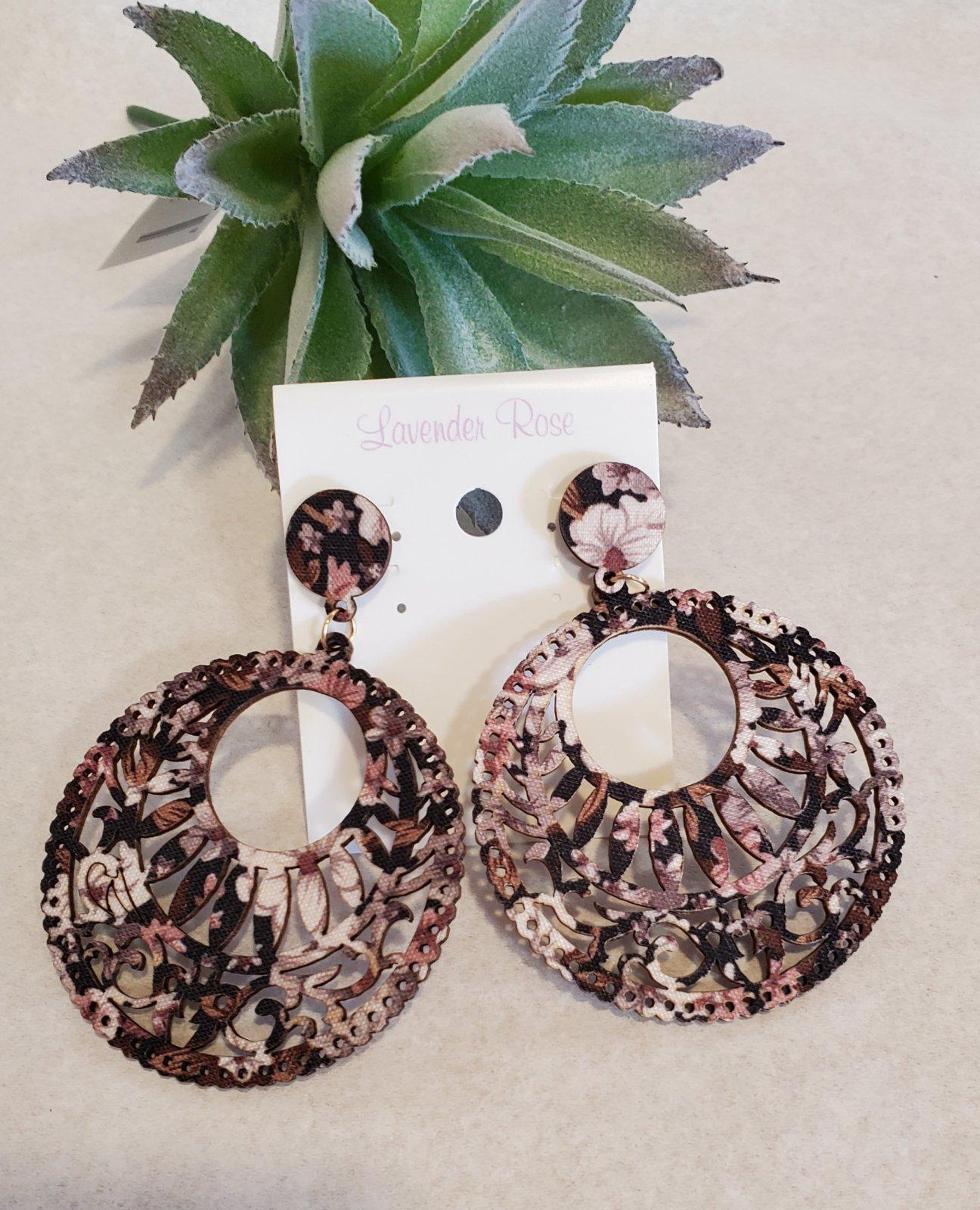 Brown Cut Wood  Filigree Circle Earrings