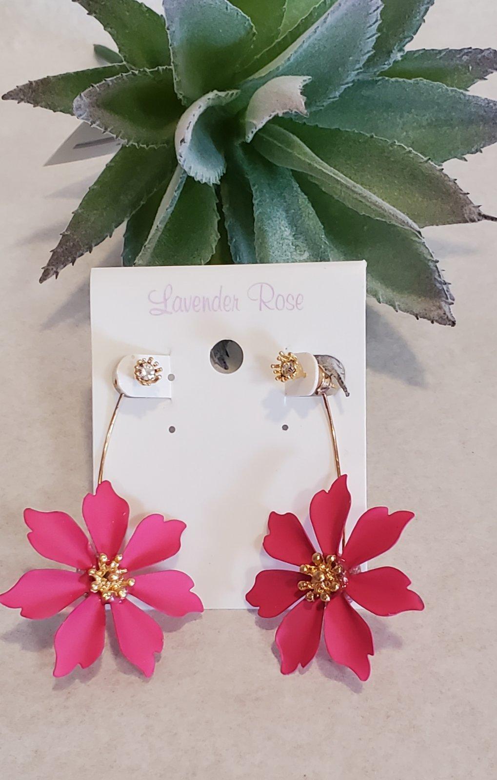 Pink Flower Drop Earrings