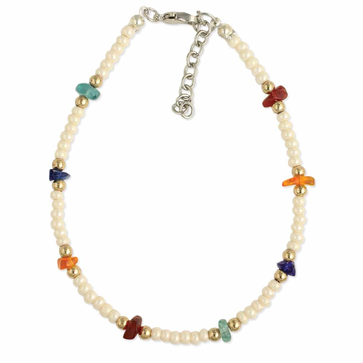 Beach Finds Pearl & Glass Chip Anklet