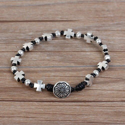 BLK/SLV Cross Bracelet