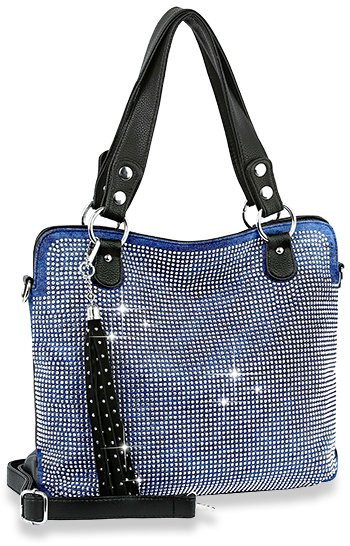 Dazzling Rhinstone Covered Denim Fashion Handbag