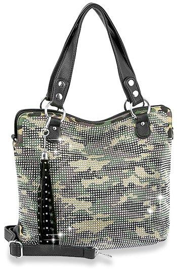 Dazzling Rhinstone Covered Camo Fashion Handbag