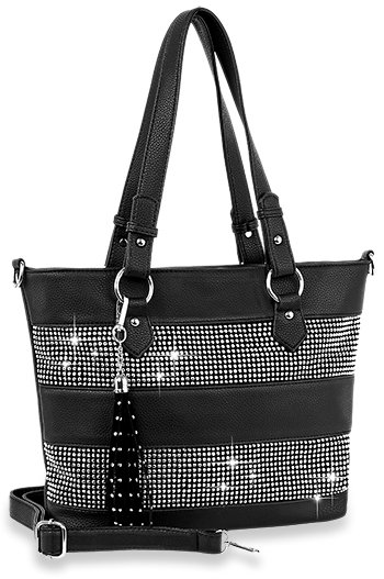 Bling Accent Banded Tote Handbag