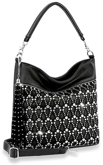 Sparkling Rhinestone Design Hobo Handbag