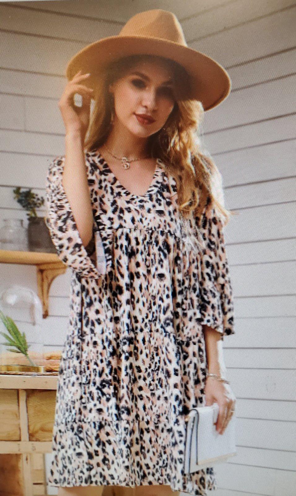 3 Tier Ruffled Dress Leopard