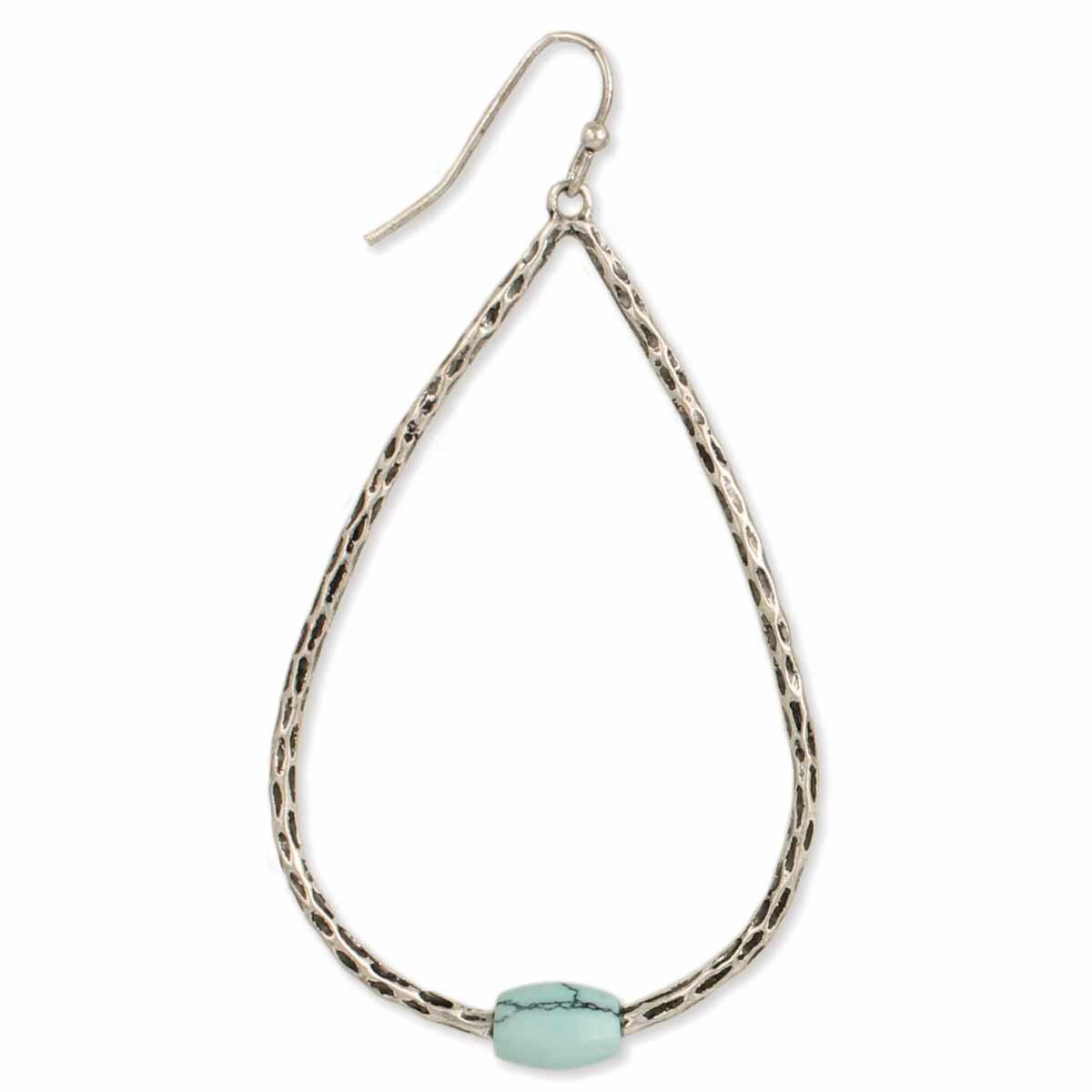 Southwest Silver Teardrop Turquoise Earrings