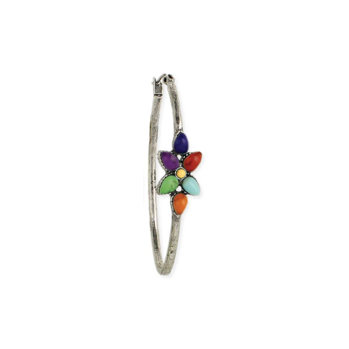 Multi Stone Wild Flower Silver Hoop Earrings