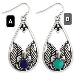 Silver Filigee Teardrop  with Stone Earrings