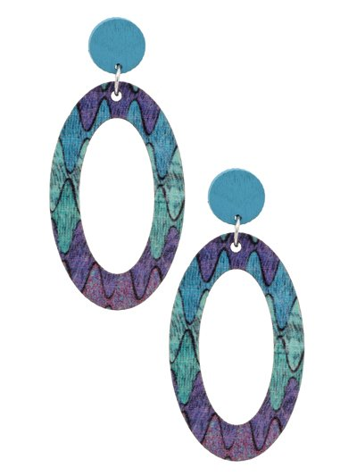 Open Oval Printed Wood Post Earrings