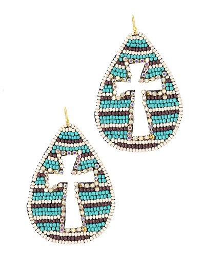 Seed Bead Cross Earrings