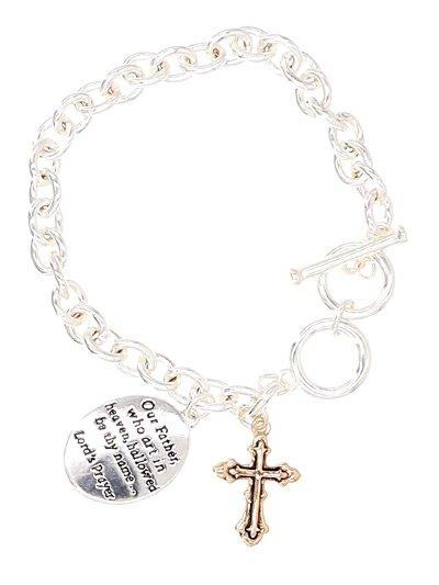Message Cross Dandling Toggle - Lord's Prayer Bracelet