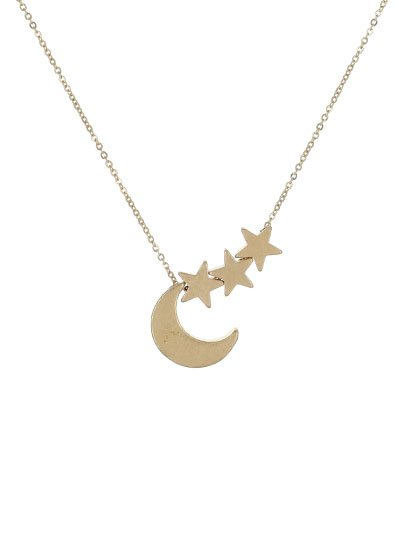 17 Necklace With Crescent Moon & Star Pendant - gold