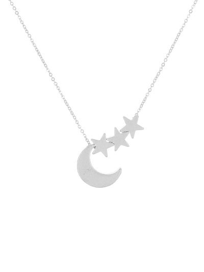 17 Necklace With Crescent Moon & Star Pendant - Silver
