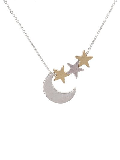 16 Moon & Star Necklace Silver/Gold