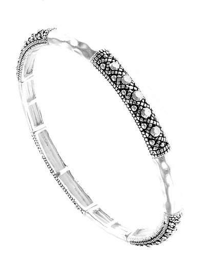 Silver Bangle with Metal Accents Bracelet