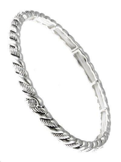 Silver with Aqua Rhinestone Bracelet