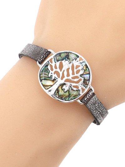 Tree Silver Metal Abalone Leather Bracelet