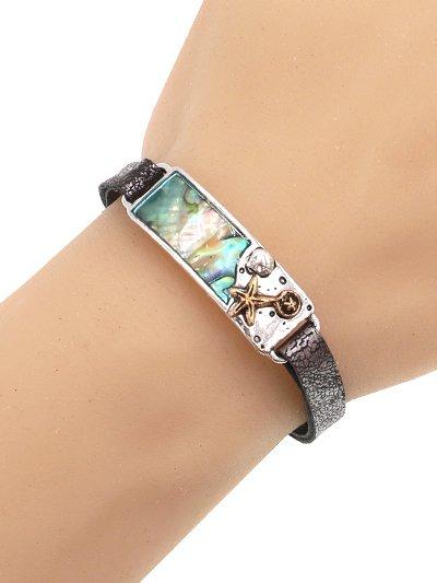 Sea Live Srarfish Medtal Abalone Leather Bracelet