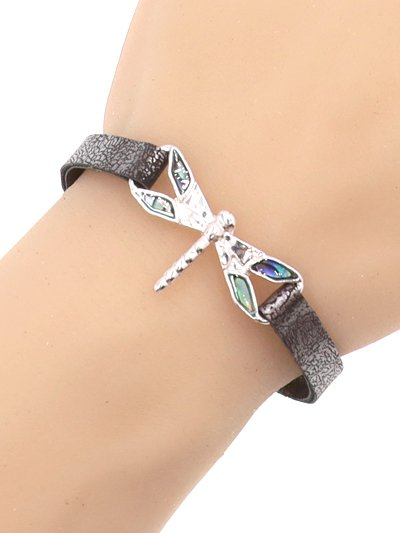 Dragonfly Metal Abalone Leather Bracelet