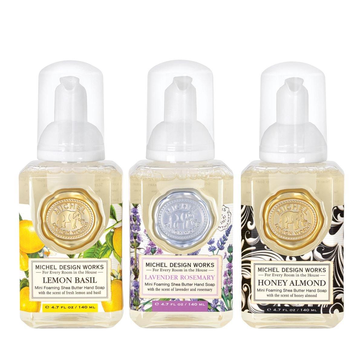 Mini Foaming Hand Soap Set (Lemon Basil, Lavender Rosemary, Honey Almond)