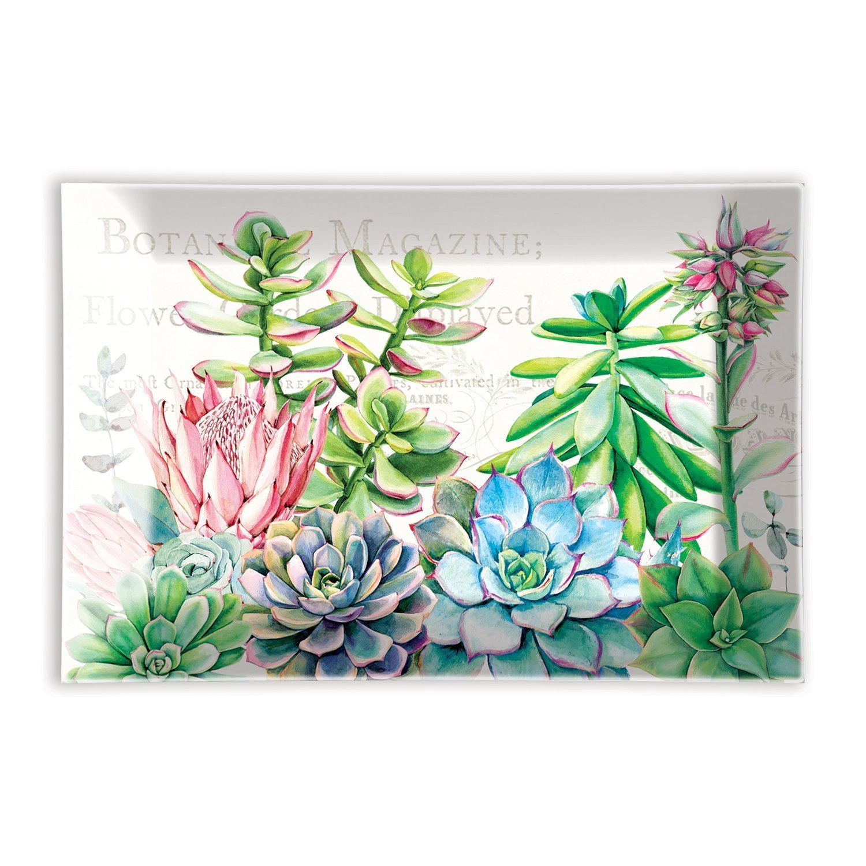 Pink Cactus Rectangular Glass Soap Dish