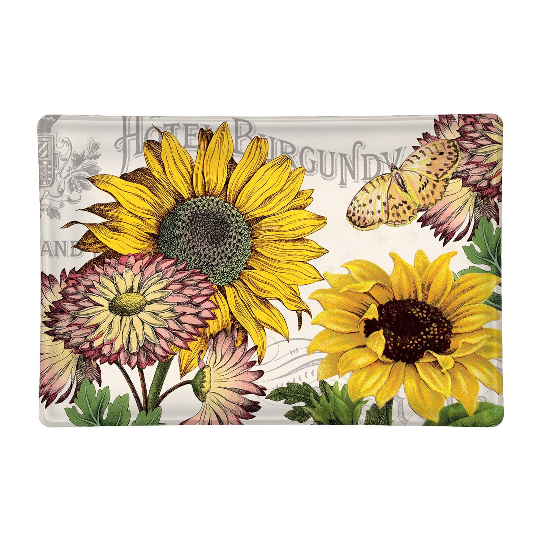 Sunflower Rectangular Glass Soap Dish
