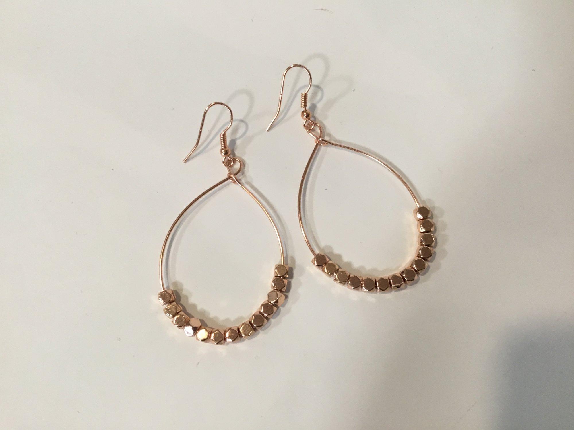 Metal Bead Rose Gold Earring