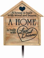 Home Is Built Garden Stake