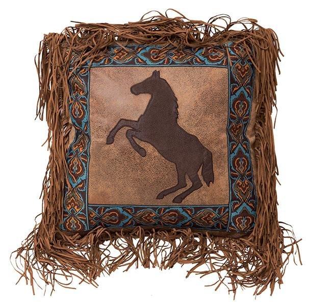 Horse Faux Leather Fringe Pillow