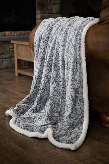 Grey cut  Leaf Sherpa Throw Blanket