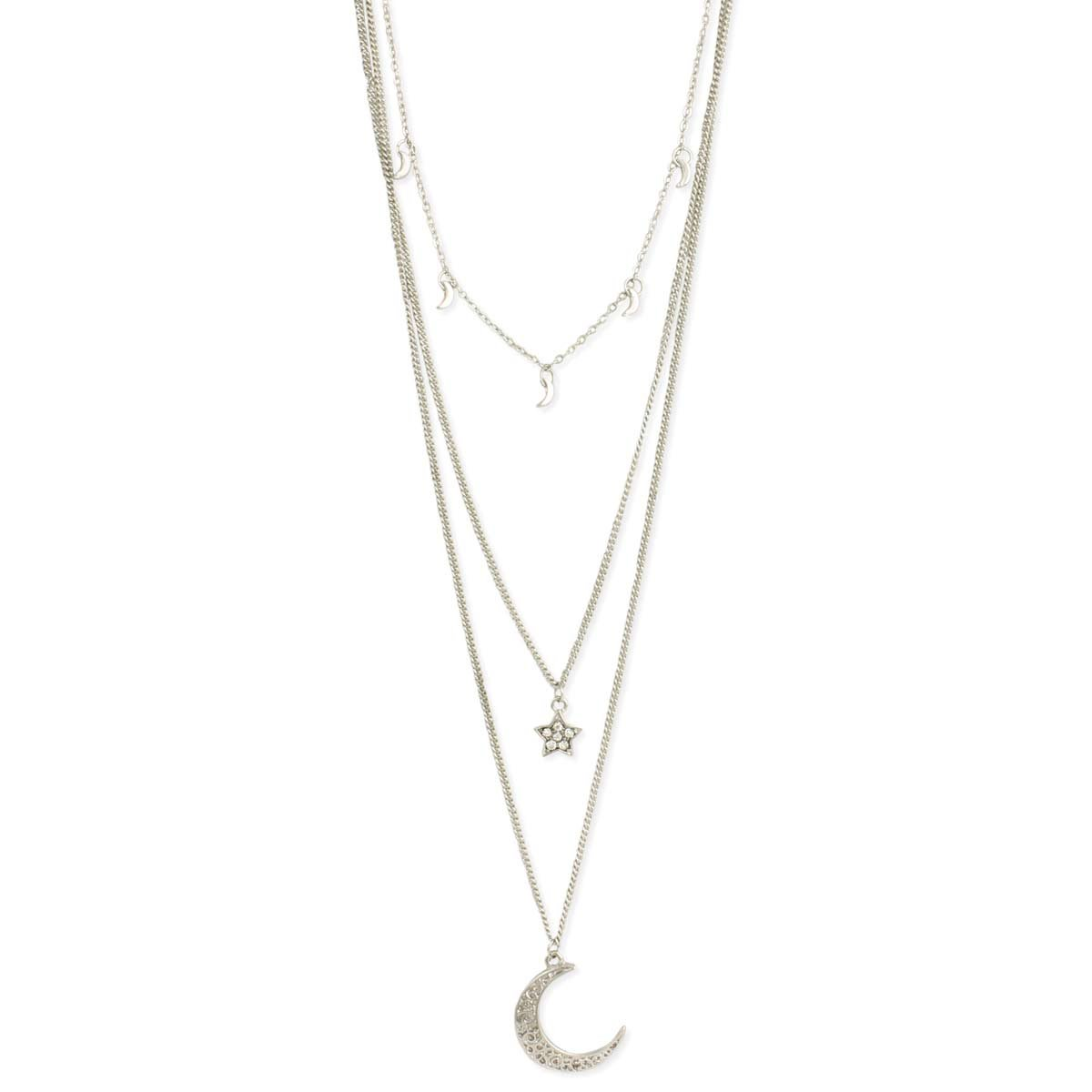 Light of the Silvery Moon & Stars Necklace