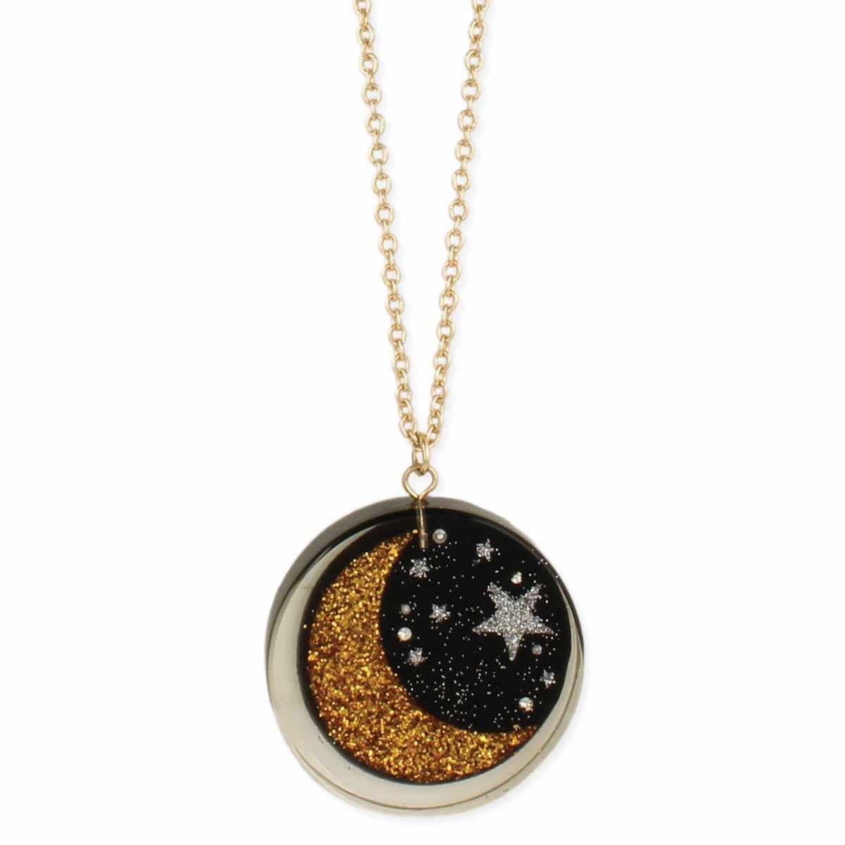 Glitter Moon & Stars Acetate Necklace