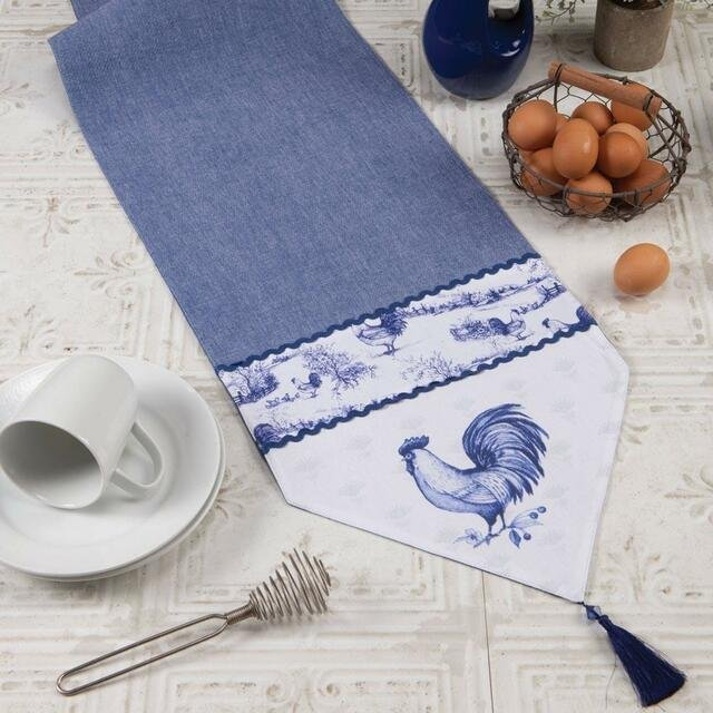 Blue Rooster Table Runner