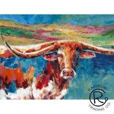 Colorful Longhorn Canvas